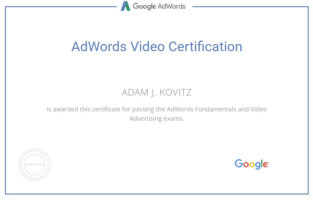 Adam's AdWords Certification